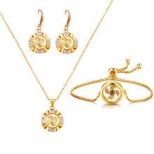 Emmaya גאוני עיצוב מאוורר-צורת תכשיטים סטים לנקבה ב כלה מסיבת המושך את העין שרשרת עגיל צמיד אופנה מגמה(China)