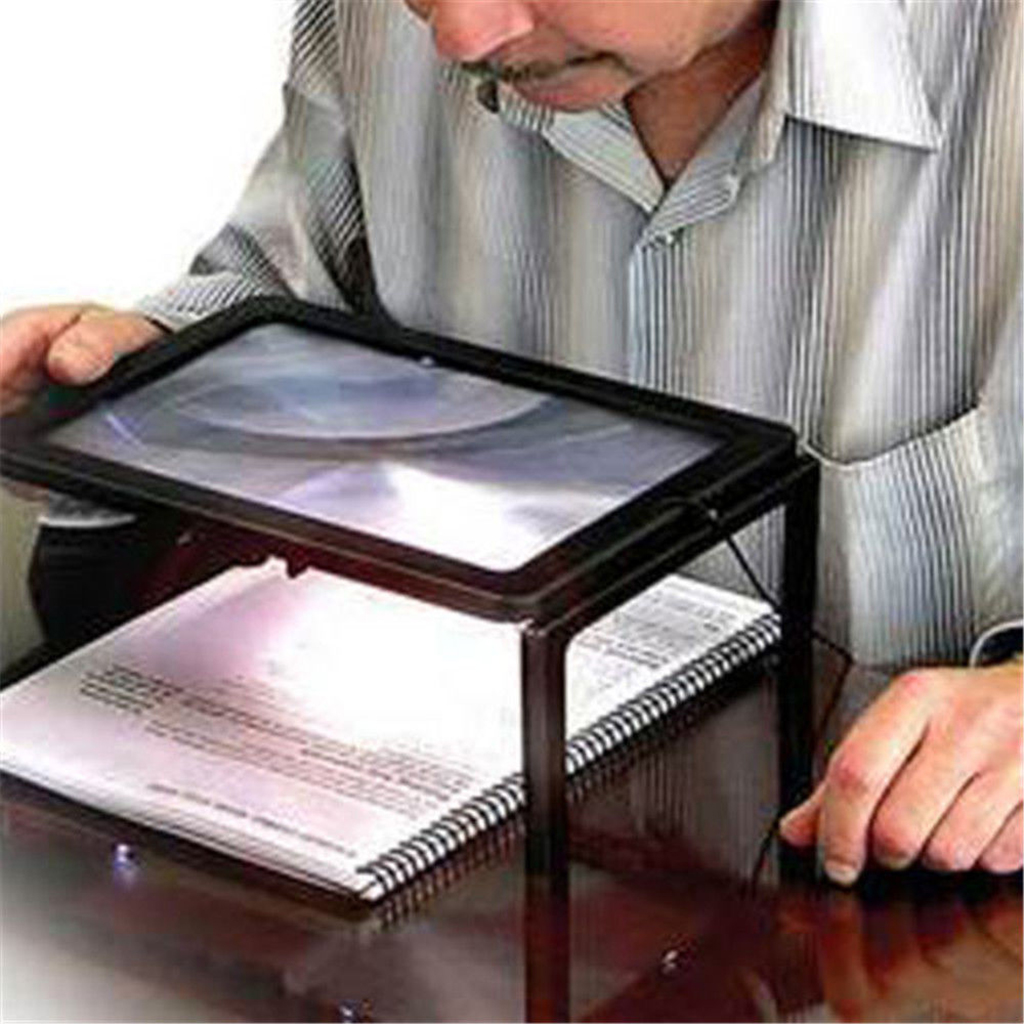 Full Page Magnifying Glass with 4 LED Lights and Foldable Legs - 3x Len - Large Rectangular Magnifier for Desktop Reading