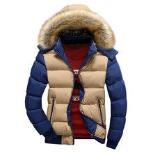 Henchiry 남성용 겨울 자켓 두꺼운 후드 모피 칼라 parka men coats 캐주얼 패딩 남성 자켓 남성 의류 겨울 패딩 코트(China)