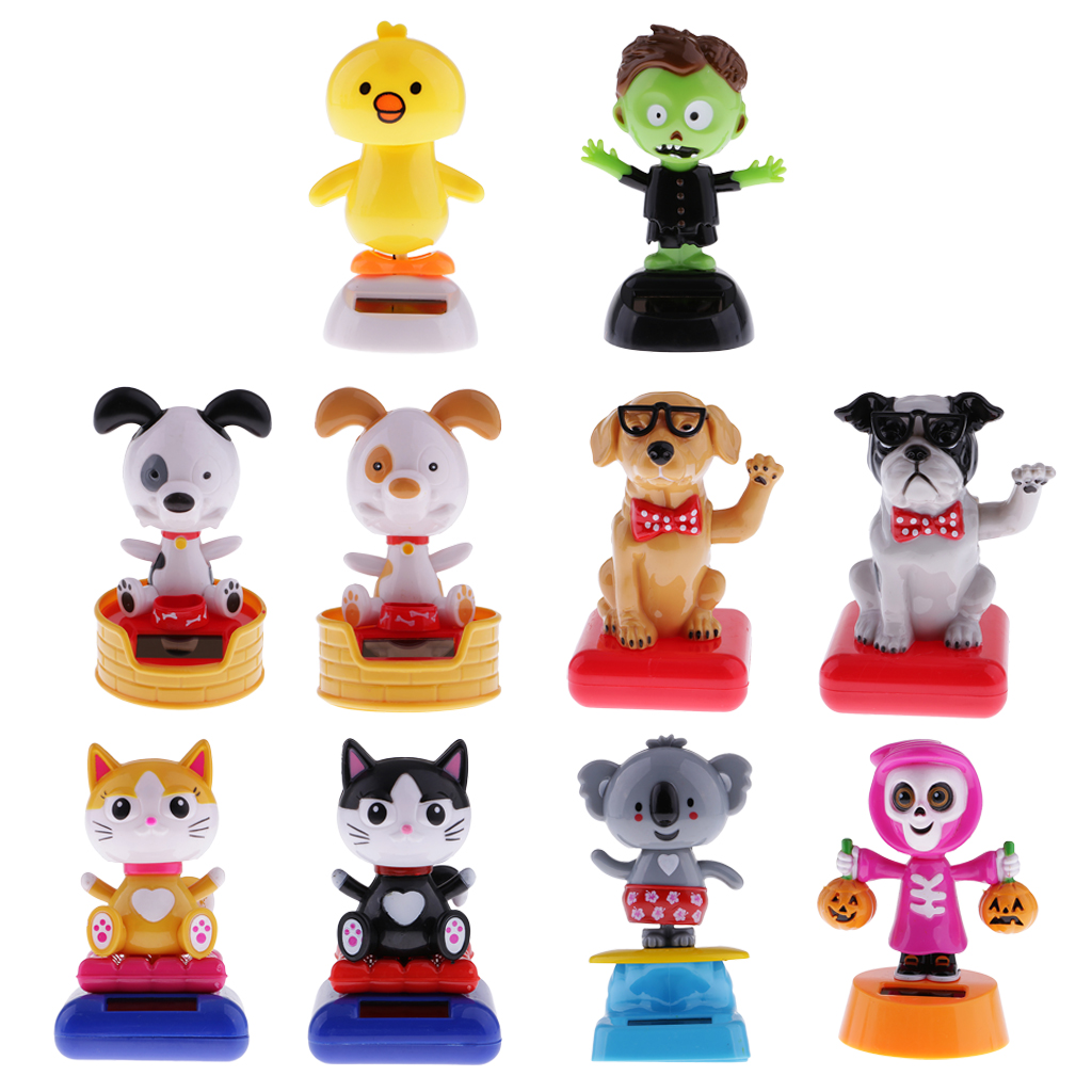 Solar Powered Dancing Toys Bobbleheads Bobbling Head Toys Car Ornament Kids Dolls, Assorted Designs