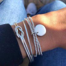 Богемия сплав многослойные Золотые Серебряные бусинки блестки набор браслет для женщин ювелирные изделия ножной браслет ножные браслеты, ...()
