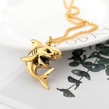 חדש קטן כריש תליון זכר כסף שרשרת היפ הופ רוק צב ישו תליון שרשרת פאנק גברים של רטרו בת שרשרת מודלים זוג(China)