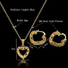 Braut Dubai Gold Schmuck Sets Zirkon Herz Halskette Ohrringe Nigerian Hochzeit Partei Frauen Mode Schmuck Set(China)
