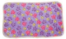 犬のベッドマットソフト足足プリント暖かいペット毛布睡眠ベッドカバー(China)
