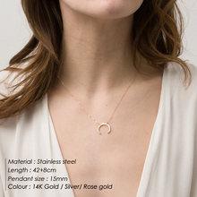 Mode classique Simple en acier inoxydable collier dames lune pendentif or collier dames clavicule chaîne collier bijoux 2019(China)