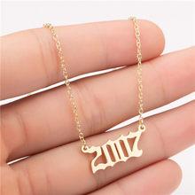 Yiustar rok numer wisiorek naszyjnik ze stali nierdzewnej złoty naszyjnik typu choker dla mężczyzn na zamówienie rok 1997 2005 2008 prezent urodzinowy 1997 do 2008(China)
