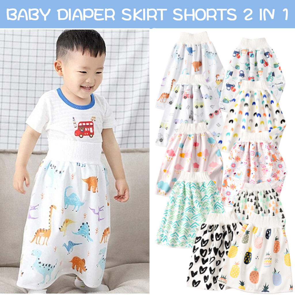 2 Pieces Children Diaper Skirts Shorts Baby Comfy Cotton Diaper Skirt Baby Potty Training Skirt Pants Waterproof Cloth Diaper Skirt for Baby Boy Girl Night Time Sleeping Bed Clothes