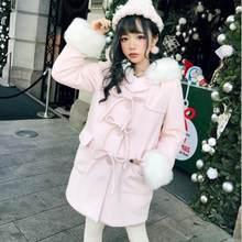 MÙA THU ĐÔNG Sweet Lolita Áo Nhật Bản nơ khóa có lông mũ Victoria áo liền quần Kawaii cô gái áo khoác loli(China)