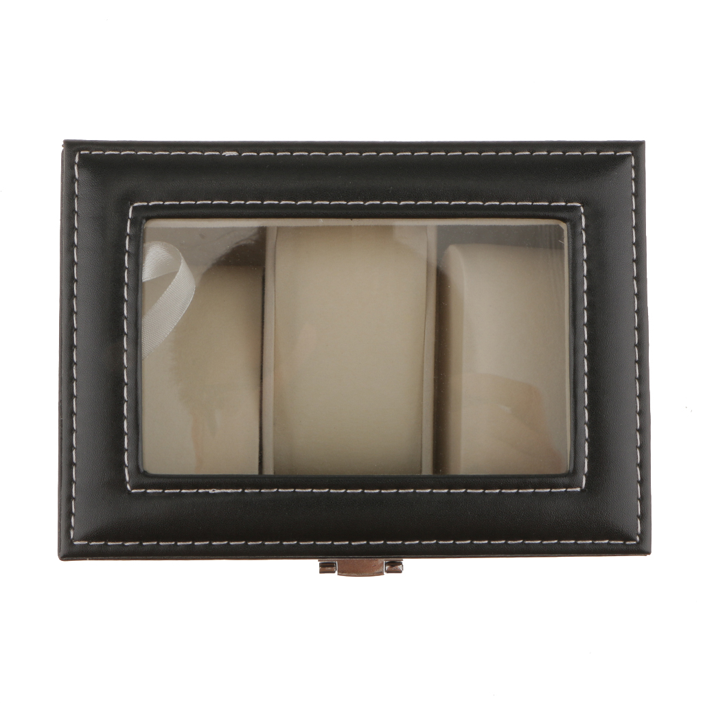 PU Leather Velvet Storage Box Watch 3-Compartements Organizer Storage Jewelry Black