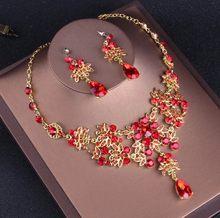 הבארוק בציר זהב אדום קריסטל כלה תכשיטי סטי ריינסטון מצנפות כתר קולר שרשרת עגילי סט אביזרי חתונה(China)