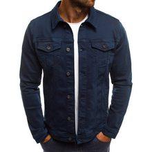 Jodimitty 2020 Solid Jaket Jeans Denim Pria Fashion Musim Gugur Slim Jaket Kasual Mantel Denim Kerah Yg Terlipat Ke Bawah Kerah Streetwear(China)