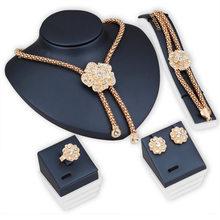 Nigeria Gold schmuck sets für Frauen Österreichischen Kristall Dubai Halskette Ohrringe Ring Set Hochzeit Braut Mode Frauen Zubehör(China)