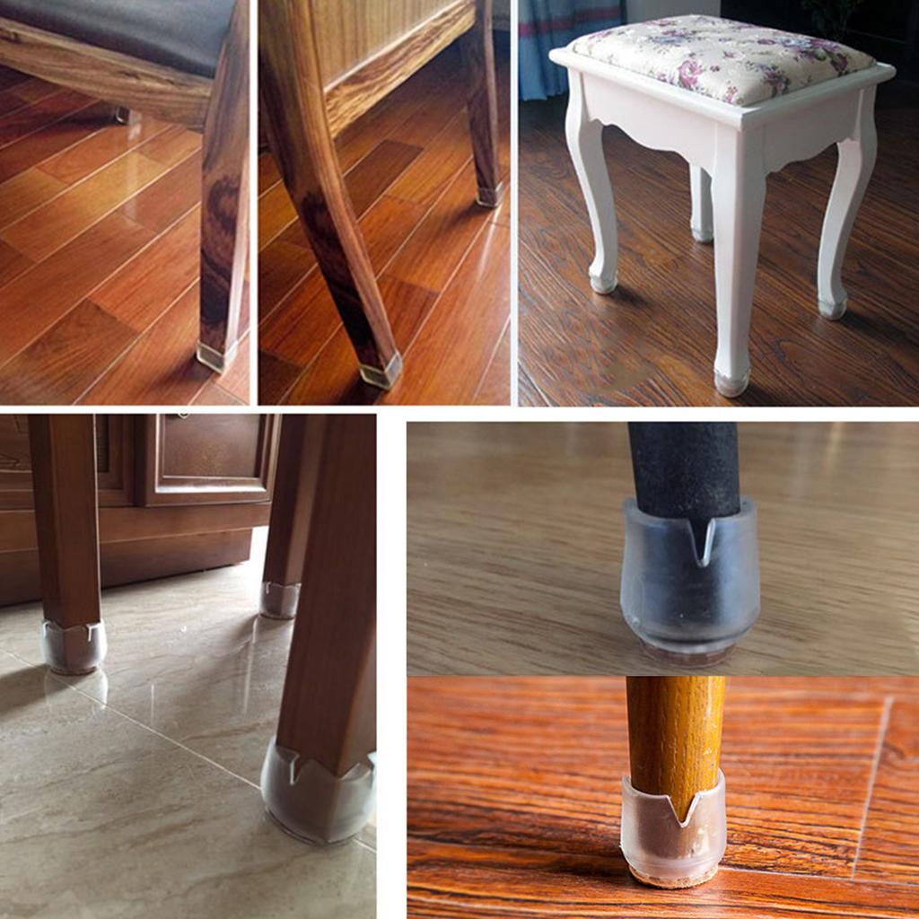30xFor Round Leg 17-21mm Anti-Slip Clear Rubber Chair Leg Floor Protectors Caps Tips Pad