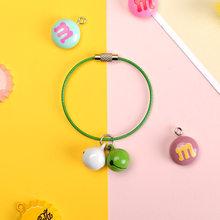 2018 nuevo creativo metal caramelo color campana Llavero artesanal DIY teléfono móvil shell accesorios amantes bolsa coche colgante(China)