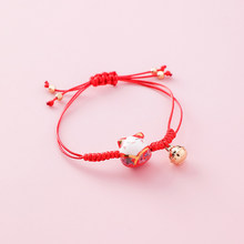 Simple and cute ceramic kitten bracelet sweet lucky cat lady bracelet fresh student hand-knitted kitten bracelet woman jewelry(China)