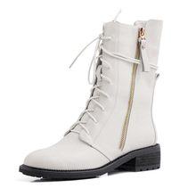 ROBESPIERE Top Qualität Aus Echtem Leder Schuhe Frau Winter Neue Warme Plattform Schnee Stiefel Frauen Lace Up Casual Große Größe Schuhe b36(China)