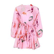 TWOTWINSTYLE להיט צבע הדפסת שמלות נשים ארוך שרוול O צוואר גבוהה מותן תחרה עד נשי שמלת אביב מזדמן אופנה 2020 גאות(China)
