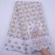 לבן וזהב אפריקאית באיכות גבוהה בד חורים שוויצרי כותנה וואל תחרה בשוויץ עם אבנים לשמלת כלה s1843(China)