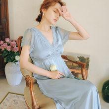 Летняя одежда для сна 2020, винтажная фиолетовая кружевная ночная рубашка размера плюс, Женская домашняя одежда, ночное платье для свадьбы, но...(China)