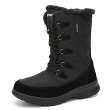 Bộ Sạc Pinsen Mới Nữ Mùa Đông Giày Đế Bằng Gót Ấm Sang Trọng Chống Nước Ủng Nữ Giày Nữ Cao Cấp Giữa Bắp Chân botas Mujer(China)