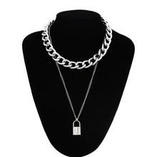 Warstwowy punkowy łańcuszek naszyjnik blokada naszyjnik kobiety mężczyźni choker metalowe łańcuchy kłódki goth biżuteria akcesoria do kostiumów(China)