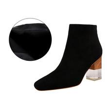 BIGTREE crystal hoge hakken zwarte enkel laarzen voor vrouwen winter schoenen vrouw korte pluche vierkante hak botas mujer suede rits boot(China)