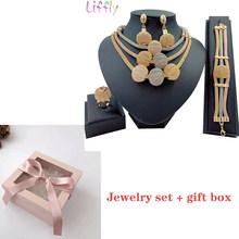 Großen Afrikanischen Gold Schmuck Set für Frauen Nigerian Choker Halskette Erklärung Schmuck Drei Ton Layered Ohrringe Ring Armband(China)