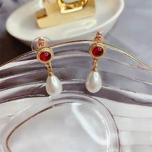 Bros Anting-Anting Set Jarum Anting-Anting Mutiara Korsase Sederhana Temperamen Bros Wanita Berlian Imitasi Pin Bros untuk Wanita(China)