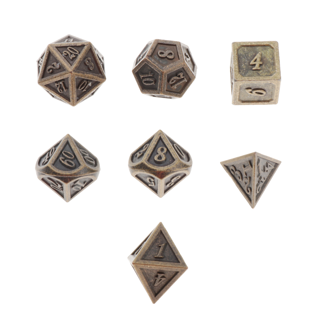 7 Pieces Durable Metal Dices Set - DND Game Polyhedral Solid Metal D&D Dice Set for Role Playing Game Dungeons and Dragons
