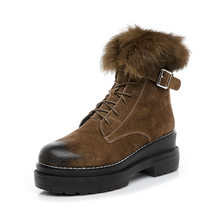 Fujin Fall Winter Geborsteld Leer Vrouwen Laarzen Hoge Hak Konijnenbont Katoen Laarzen Side Rits Gesp Snowboots Vrouwen laarzen(China)