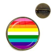 Nieuwe Mode Glas Cabochon Kleurrijke Regenboog Bloem Broches Crystal Kraag Pinnen Sieraden Voor Biseksuele Lgbt Gay Pride Gift(China)