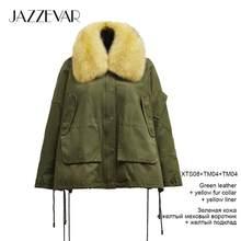 Jazzevar 2019 inverno nova chegada casaco de inverno das mulheres com uma gola de pele solta roupas outerwear alta qualidade roupas de inverno k9033(China)