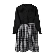 [EAM] женское черное Плиссированное клетчатое платье большого размера с воротником-стойкой, с длинным рукавом, свободное, модное, весна-осень ...(China)