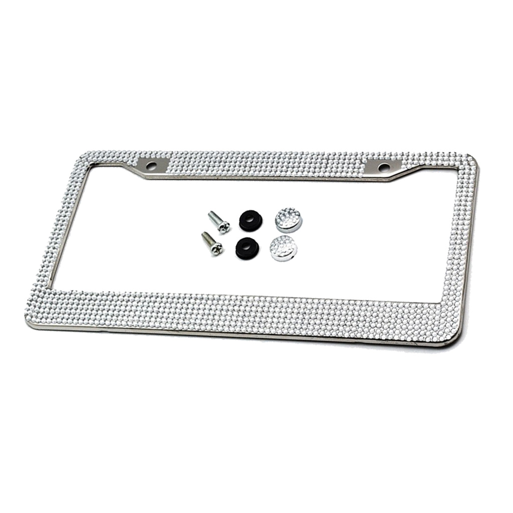 Crystals Bling License Plate Metal Frame Car Tag Holder Stainless Steel Car Tag Frame for U.S & Canada Auto