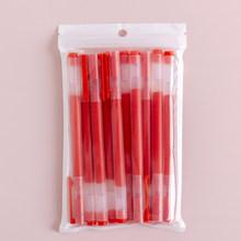 Набор гелевых ручек, 10 шт./пакет, большая емкость, набор чернил, 0,5 мм, синий, красный, черный, гелевая ручка, канцелярские принадлежности для п...(China)