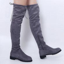 Ren Lên Trên Đầu Gối Giày Nữ La Mã Phong Cách Giày Đế Phẳng Giày Người Phụ Nữ Da Lộn Dài Giày Botas Mùa Đông Đùi giày Cao Cổ 35-43(China)