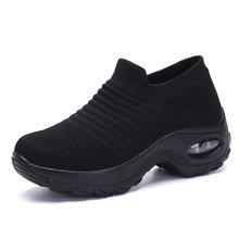Damyuan çorap Sneakers düz ayakkabı kadın ayakkabı platformu üzerinde kayma ayakkabı kadın rahat siyah nefes örgü çorap Sneakers 2019(China)