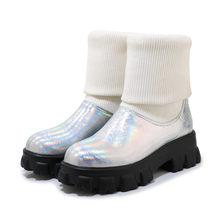 FEDONAS น่ารักรอบ Toe ผู้หญิงรองเท้าแพลตฟอร์มกลางลูกวัวรองเท้าเต้นรำรองเท้าผู้หญิงฤดูหนาวที่อบ...(China)