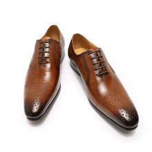Модные Мужские модельные туфли; Кожаные оксфорды; Роскошная итальянская обувь; Цвет черный, коричневый; Свадебная деловая мужская обувь на ...(China)