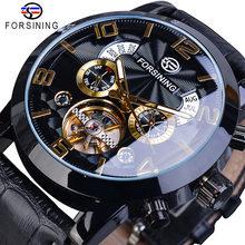 Forsining tourbillion moda onda relógio de ouro preto multi função exibição dos homens relógios mecânicos automáticos marca superior luxo(China)