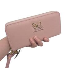 Moda borboleta feminina carteira alça de pulso caso telefone seção longa dinheiro bolso bolsa bolsa feminina titular do cartão da bolsa 2019(China)