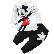 Otoño Invierno niño niña dibujos animados Mickey Mouse ropa de ocio bebé recién nacido niños trajes ropa infantil traje de niños(China)