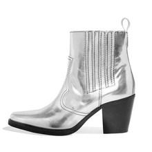 WETKISS Westerse Laarzen Vrouwen Snake Skin Enkellaarsjes Hoge Hakken Schoenen Vrouwelijke Vierkante Teen Koe Lederen Schoenen Dames Lente 2020(China)