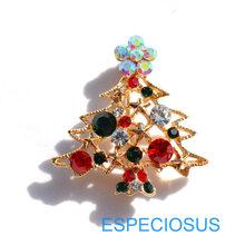 Elegan Pin Warna Emas Pohon Natal Wanita Hadiah Natal Pakaian Payudara Pin Aksesoris Perhiasan Dicat Bros Berlian Imitasi(China)