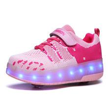 Kids Boys Girls Shoes Light Up Heelies Two Wheels Luminous Sneakers USB Charging Led Light Roller Skate Shoes for Children(China)