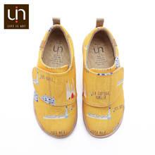 UIN sanat şehir tasarım boyalı tuval beyaz ayakkabı çocuklar için yumuşak yuvarlak ayak rahat daireler erkek/kız konfor açık ayakkabı spor ayakkabı(China)