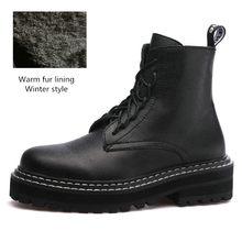 Thương Hiệu Cao Cấp 2020 Nữ Thời Trang Mới 100% Da Bò Giày Da Mùa Đông Nữ Đồng Màu Giày Bốt Martin Ngắn Bông Ấm Áp giày(China)