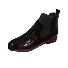 Patent Deri Martin kısa çizmeler Kadın Moda Kare Ayak Kalın Topuk Üzerinde Katı Kayma Gündelik Kışlık Ayakkabı Kadın botas feminina(China)