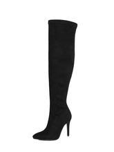 Stretch Wildleder Frauen Oberschenkel Hohe Stiefel Stiletto Sexy Über das Knie Stiefel Spitz High Heels Lange Stiefel Rot Schwarz grau Beige(China)