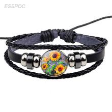 אופנה אמנות ואן גוך זכוכית קרושון תכשיטי שחור עור ארוג פאנק צמיד ליל כוכבים חמניות כפתור צמיד גברים מתנות(China)